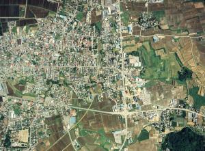 『真壁城跡と町並み』の画像